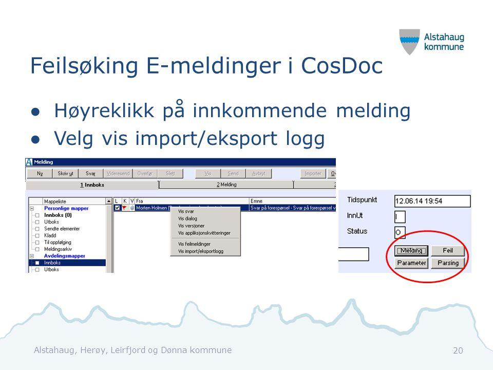 Feilsøking E-meldinger i CosDoc ●Høyreklikk på innkommende melding ●Velg vis import/eksport logg Alstahaug, Herøy, Leirfjord og Dønna kommune 20