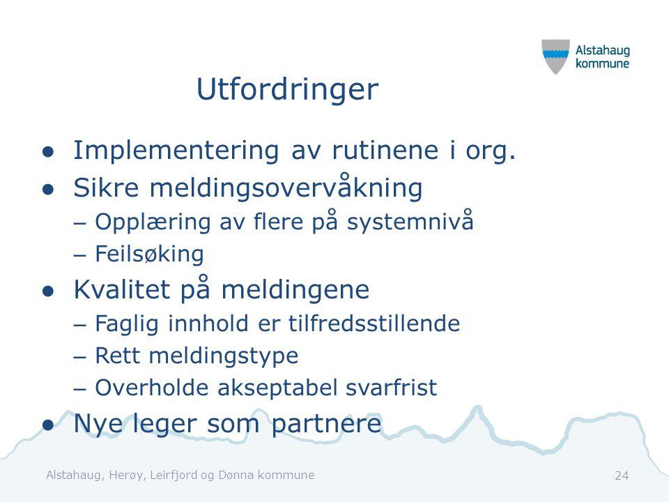 Utfordringer ●Implementering av rutinene i org. ●Sikre meldingsovervåkning – Opplæring av flere på systemnivå – Feilsøking ●Kvalitet på meldingene – F