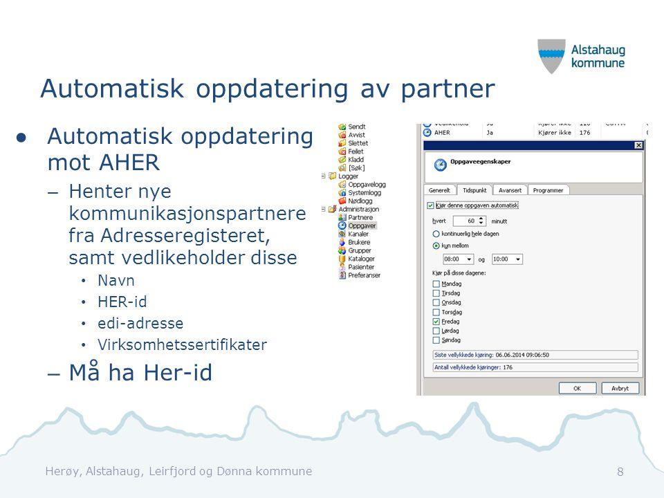 Automatisk oppdatering av partner ●Automatisk oppdatering mot AHER – Henter nye kommunikasjonspartnere fra Adresseregisteret, samt vedlikeholder disse