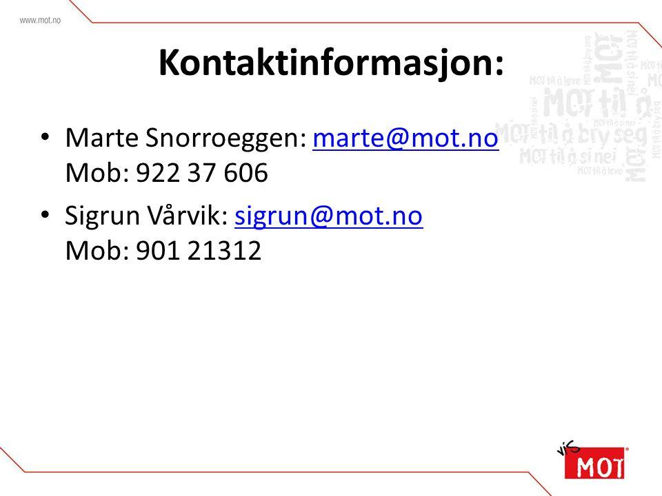 Kontaktinformasjon: Marte Snorroeggen: marte@mot.no Mob: 922 37 606marte@mot.no Sigrun Vårvik: sigrun@mot.no Mob: 901 21312sigrun@mot.no