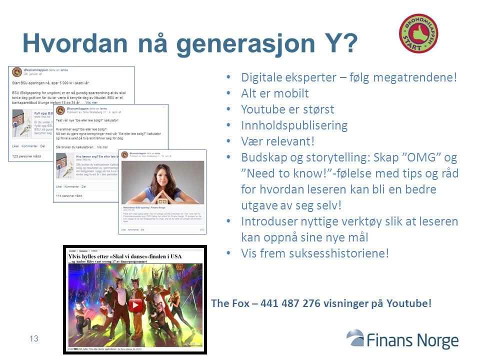 13 Hvordan nå generasjon Y? 2300 kr for gullparkas! Digitale eksperter – følg megatrendene! Alt er mobilt Youtube er størst Innholdspublisering Vær re