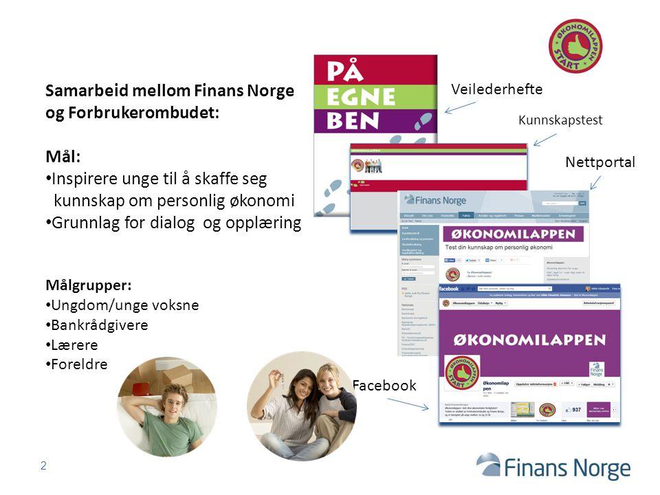 2 Samarbeid mellom Finans Norge og Forbrukerombudet: Mål: Inspirere unge til å skaffe seg kunnskap om personlig økonomi Grunnlag for dialog og opplæri