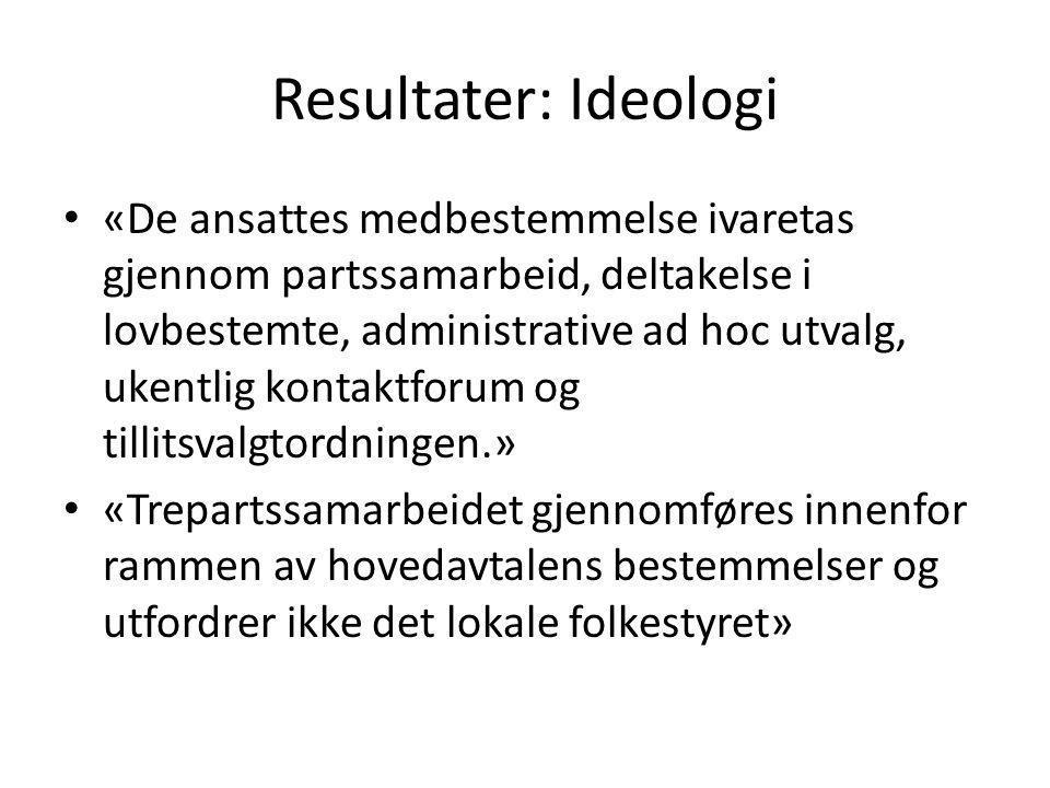 Resultater: Ideologi «De ansattes medbestemmelse ivaretas gjennom partssamarbeid, deltakelse i lovbestemte, administrative ad hoc utvalg, ukentlig kon
