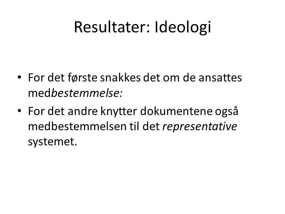 Resultater: Ideologi For det første snakkes det om de ansattes medbestemmelse: For det andre knytter dokumentene også medbestemmelsen til det represen