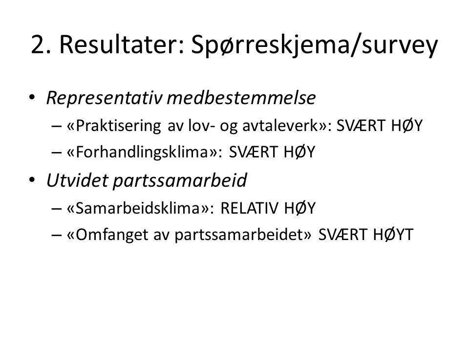 2. Resultater: Spørreskjema/survey Representativ medbestemmelse – «Praktisering av lov- og avtaleverk»: SVÆRT HØY – «Forhandlingsklima»: SVÆRT HØY Utv