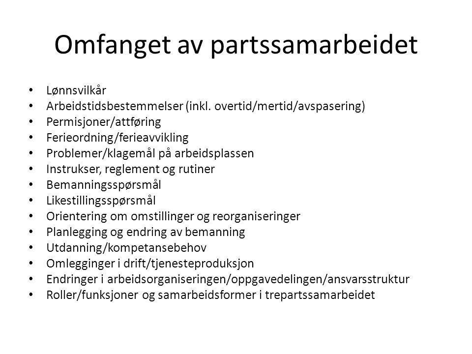 Omfanget av partssamarbeidet Lønnsvilkår Arbeidstidsbestemmelser (inkl. overtid/mertid/avspasering) Permisjoner/attføring Ferieordning/ferieavvikling