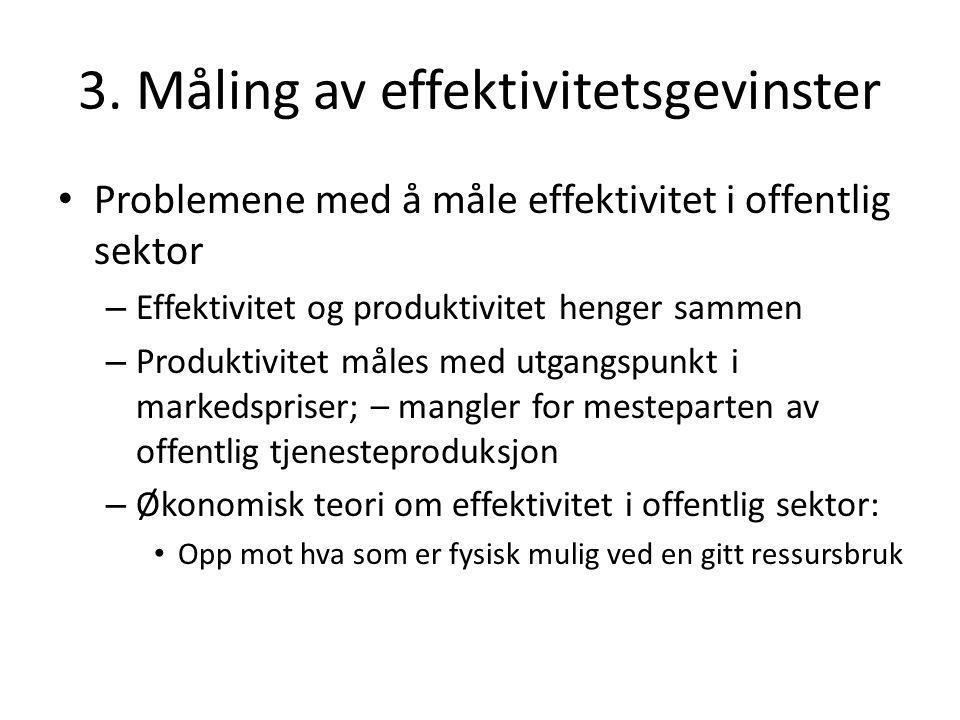 3. Måling av effektivitetsgevinster Problemene med å måle effektivitet i offentlig sektor – Effektivitet og produktivitet henger sammen – Produktivite