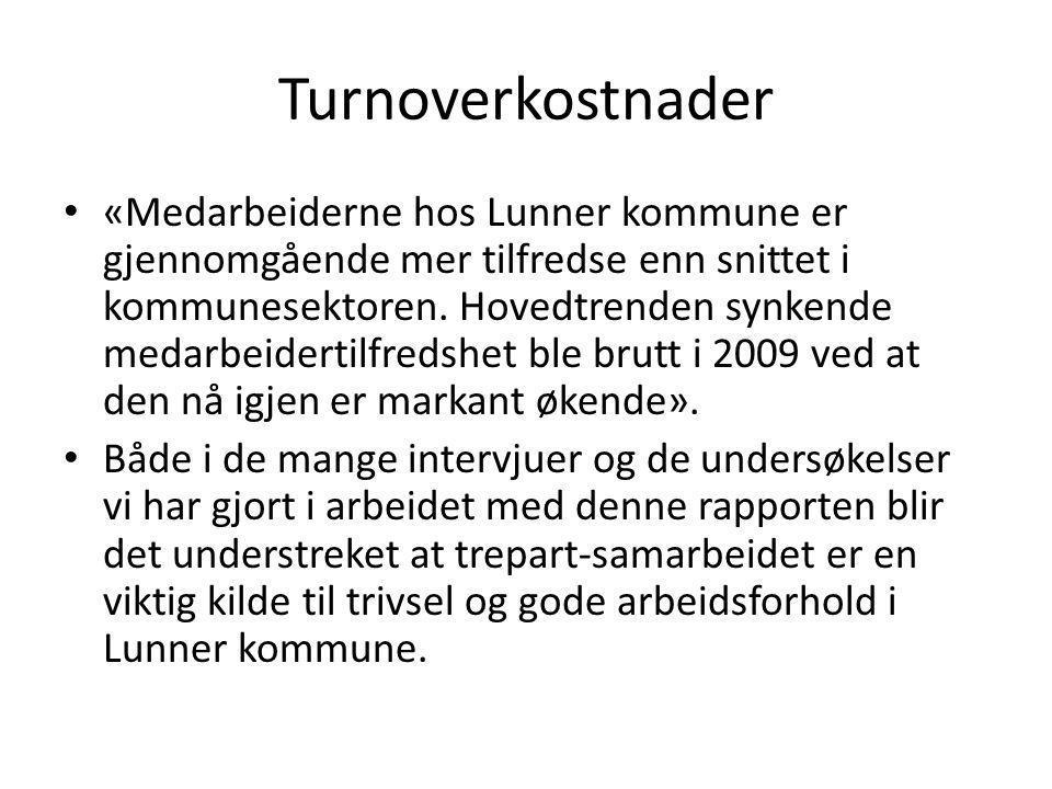Turnoverkostnader «Medarbeiderne hos Lunner kommune er gjennomgående mer tilfredse enn snittet i kommunesektoren. Hovedtrenden synkende medarbeidertil