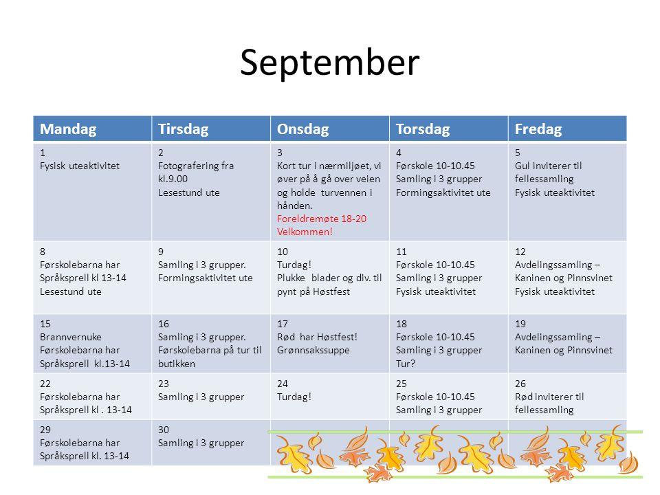 September MandagTirsdagOnsdagTorsdagFredag 1 Fysisk uteaktivitet 2 Fotografering fra kl.9.00 Lesestund ute 3 Kort tur i nærmiljøet, vi øver på å gå ov