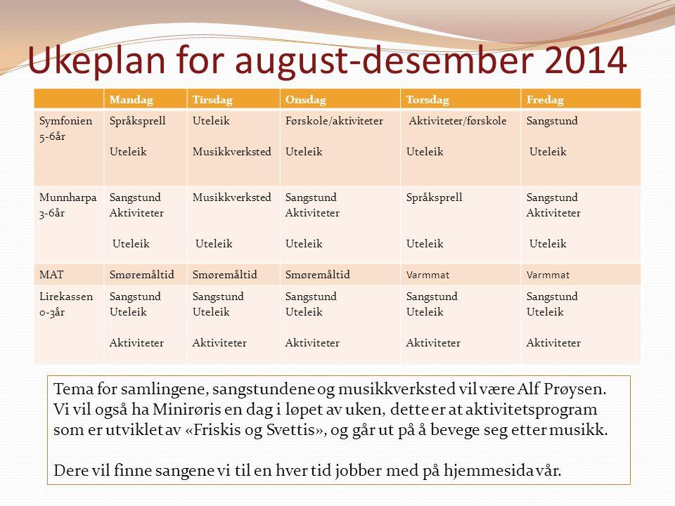 Ukeplan for august-desember 2014 Tema for samlingene, sangstundene og musikkverksted vil være Alf Prøysen. Vi vil også ha Minirøris en dag i løpet av
