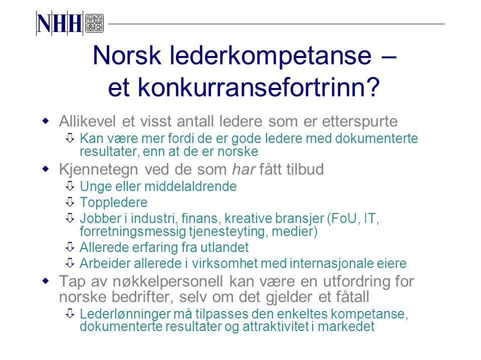 Norsk lederkompetanse – et konkurransefortrinn.