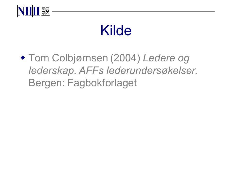 Kilde wTom Colbjørnsen (2004) Ledere og lederskap. AFFs lederundersøkelser. Bergen: Fagbokforlaget