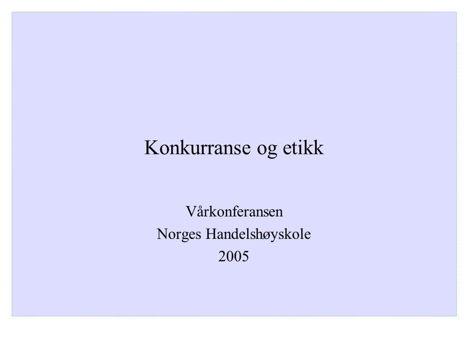 Konkurranse og etikk Vårkonferansen Norges Handelshøyskole 2005