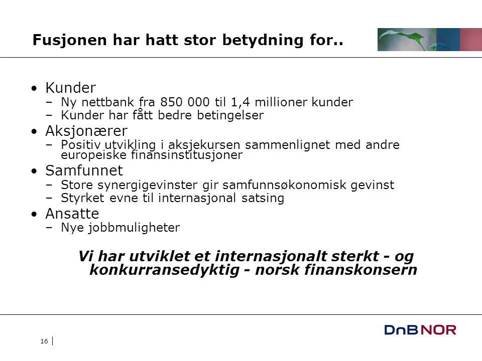 16 Fusjonen har hatt stor betydning for.. Kunder –Ny nettbank fra 850 000 til 1,4 millioner kunder –Kunder har fått bedre betingelser Aksjonærer –Posi
