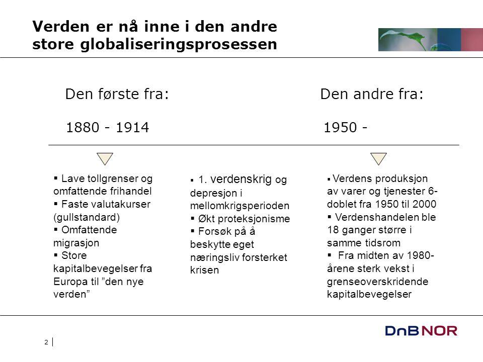 2 Verden er nå inne i den andre store globaliseringsprosessen Den første fra: Den andre fra: 1880 - 19141950 -  Lave tollgrenser og omfattende frihan