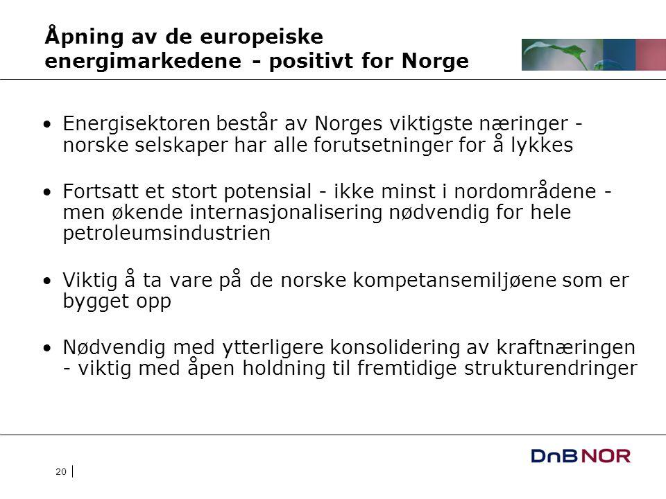 20 Åpning av de europeiske energimarkedene - positivt for Norge Energisektoren består av Norges viktigste næringer - norske selskaper har alle forutsetninger for å lykkes Fortsatt et stort potensial - ikke minst i nordområdene - men økende internasjonalisering nødvendig for hele petroleumsindustrien Viktig å ta vare på de norske kompetansemiljøene som er bygget opp Nødvendig med ytterligere konsolidering av kraftnæringen - viktig med åpen holdning til fremtidige strukturendringer