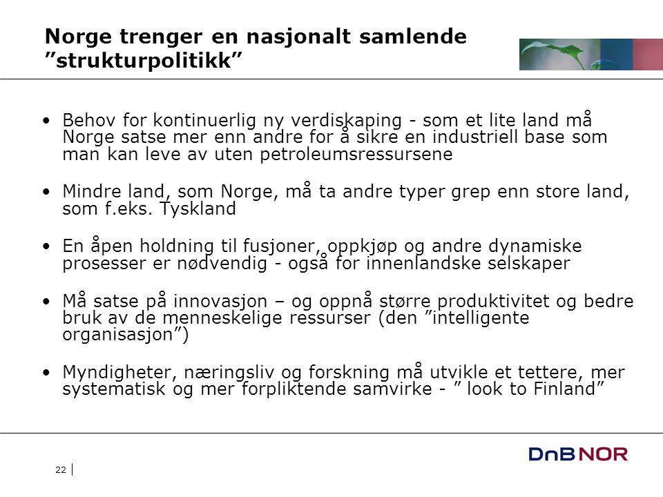 22 Norge trenger en nasjonalt samlende strukturpolitikk Behov for kontinuerlig ny verdiskaping - som et lite land må Norge satse mer enn andre for å sikre en industriell base som man kan leve av uten petroleumsressursene Mindre land, som Norge, må ta andre typer grep enn store land, som f.eks.