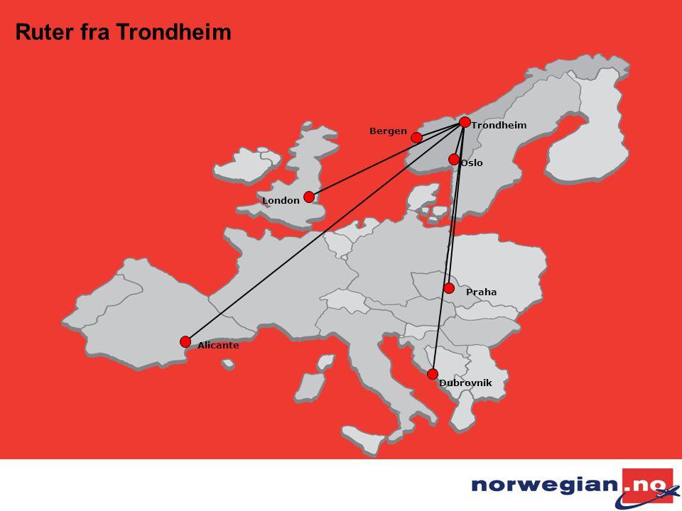 Alicante London Oslo Praha Dubrovnik Trondheim Bergen Ruter fra Trondheim