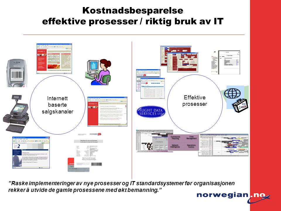 """Kostnadsbesparelse effektive prosesser / riktig bruk av IT Internett baserte salgskanaler Effektive prosesser """"Raske implementeringer av nye prosesser"""