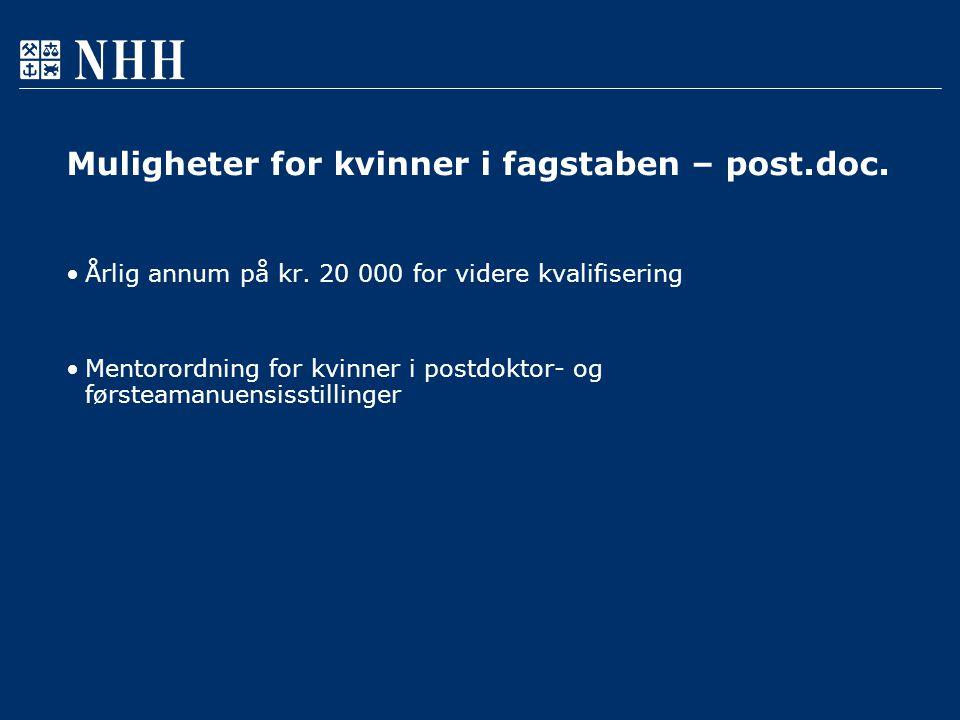 Muligheter for kvinner i fagstaben – post.doc. Årlig annum på kr.