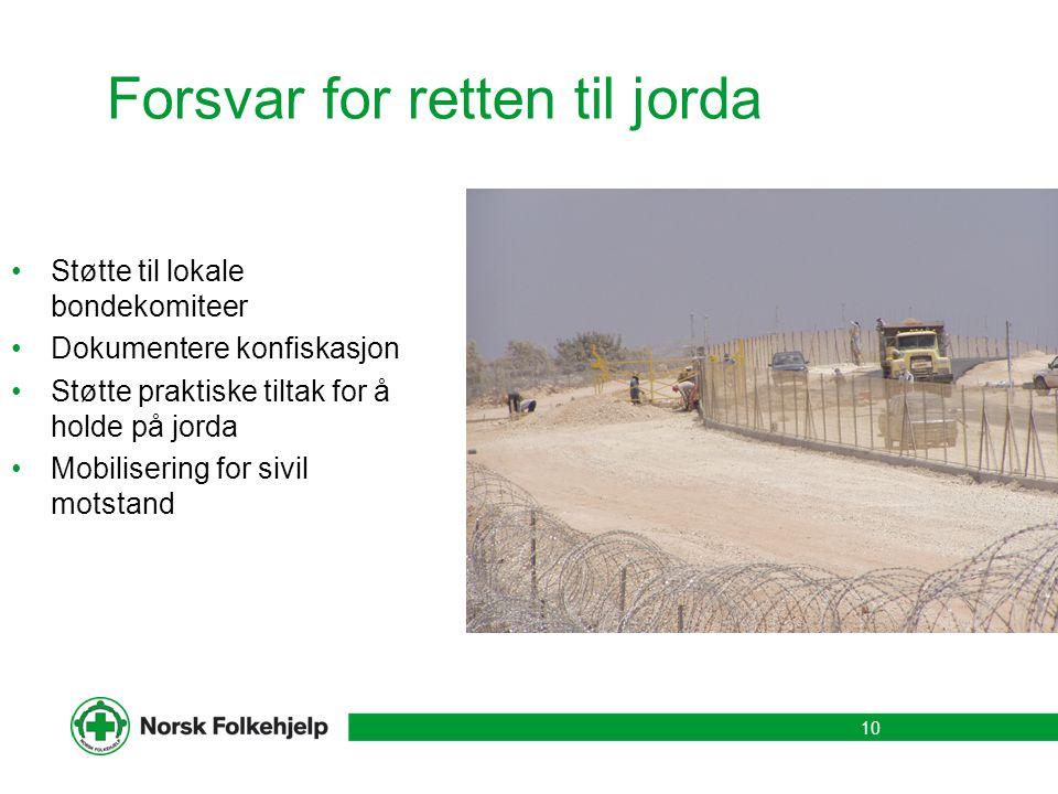 Forsvar for retten til jorda Støtte til lokale bondekomiteer Dokumentere konfiskasjon Støtte praktiske tiltak for å holde på jorda Mobilisering for si