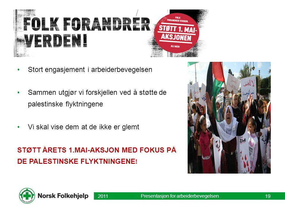 Stort engasjement i arbeiderbevegelsen Sammen utgjør vi forskjellen ved å støtte de palestinske flyktningene Vi skal vise dem at de ikke er glemt STØT