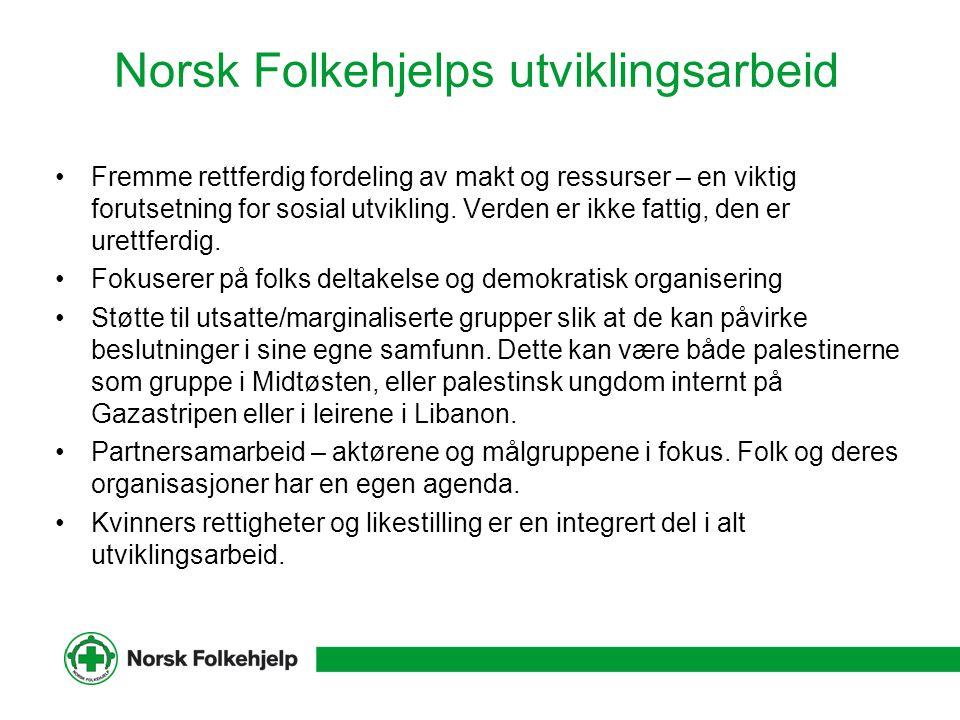 Norsk Folkehjelp i Palestina Har drevet humanitært og utviklingsarbeid i Libanon siden 1982, og på Vestbredden og i Gaza siden 1987.