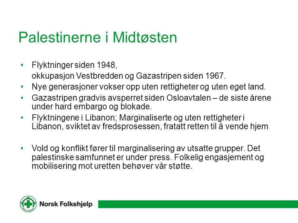 Palestinerne i Midtøsten Flyktninger siden 1948, okkupasjon Vestbredden og Gazastripen siden 1967. Nye generasjoner vokser opp uten rettigheter og ute
