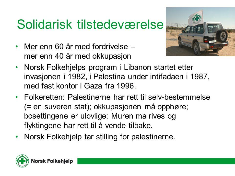 Solidarisk tilstedeværelse Mer enn 60 år med fordrivelse – mer enn 40 år med okkupasjon Norsk Folkehjelps program i Libanon startet etter invasjonen i