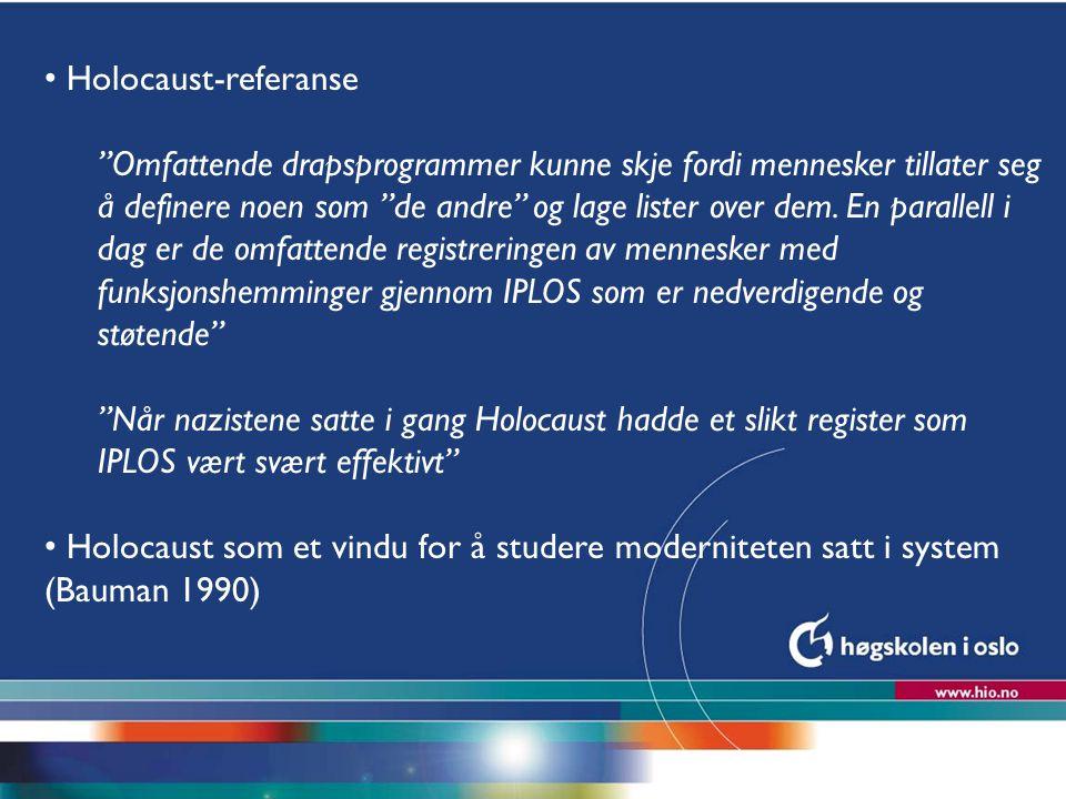 """Høgskolen i Oslo Holocaust-referanse """"Omfattende drapsprogrammer kunne skje fordi mennesker tillater seg å definere noen som """"de andre"""" og lage lister"""