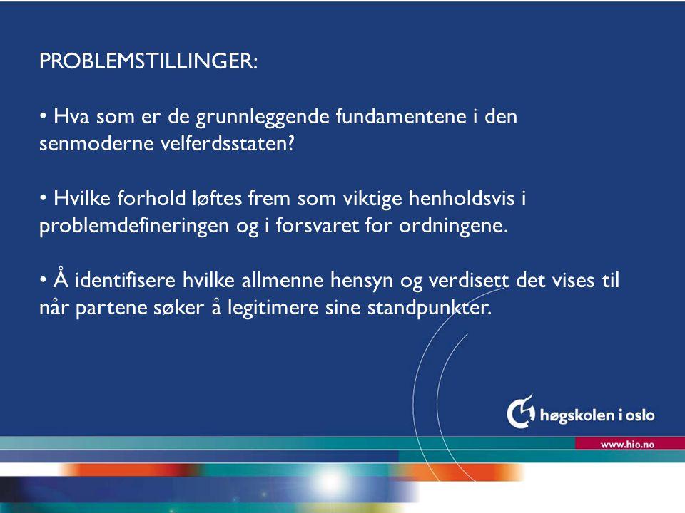 Høgskolen i Oslo PROBLEMSTILLINGER: Hva som er de grunnleggende fundamentene i den senmoderne velferdsstaten? Hvilke forhold løftes frem som viktige h