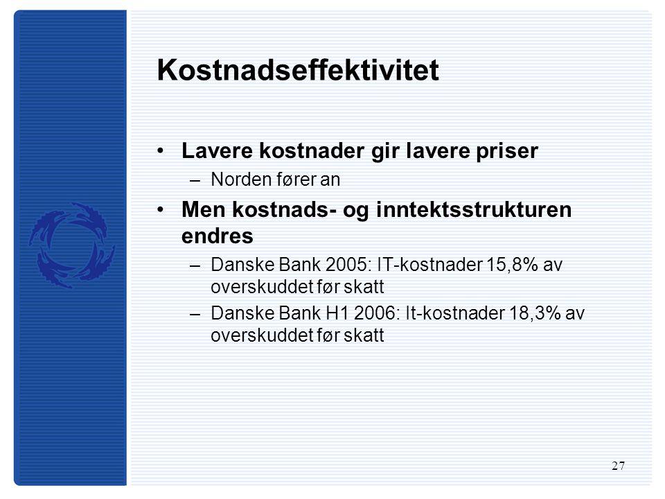 27 Kostnadseffektivitet Lavere kostnader gir lavere priser –Norden fører an Men kostnads- og inntektsstrukturen endres –Danske Bank 2005: IT-kostnader