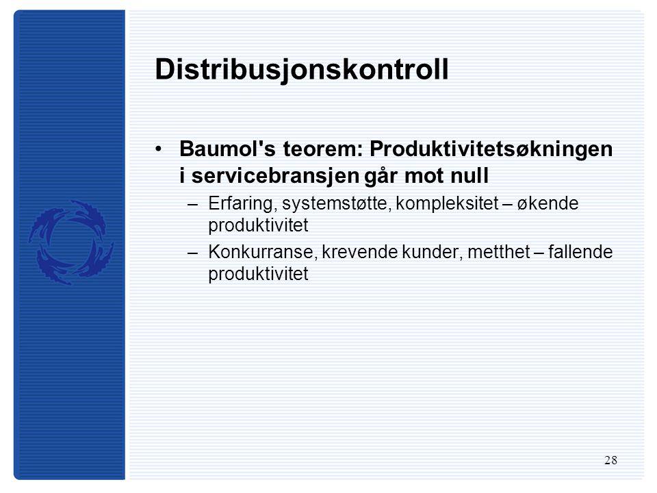 28 Distribusjonskontroll Baumol s teorem: Produktivitetsøkningen i servicebransjen går mot null –Erfaring, systemstøtte, kompleksitet – økende produktivitet –Konkurranse, krevende kunder, metthet – fallende produktivitet