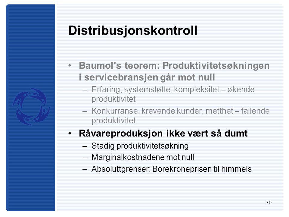 30 Distribusjonskontroll Baumol s teorem: Produktivitetsøkningen i servicebransjen går mot null –Erfaring, systemstøtte, kompleksitet – økende produktivitet –Konkurranse, krevende kunder, metthet – fallende produktivitet Råvareproduksjon ikke vært så dumt –Stadig produktivitetsøkning –Marginalkostnadene mot null –Absoluttgrenser: Borekroneprisen til himmels