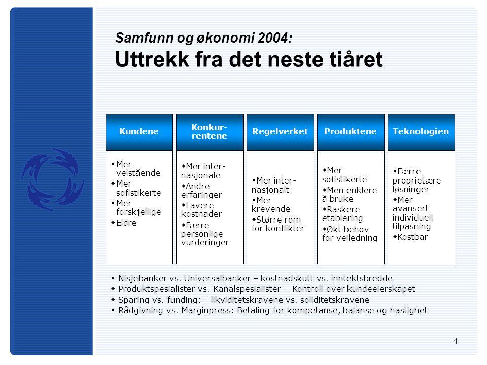 4 Samfunn og økonomi 2004: Uttrekk fra det neste tiåret  Mer inter- nasjonalt  Mer krevende  Større rom for konflikter  Mer sofistikerte  Men enk