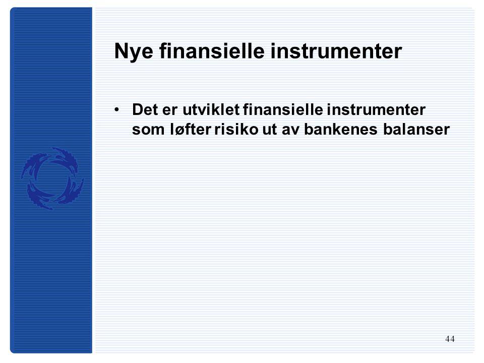 44 Nye finansielle instrumenter Det er utviklet finansielle instrumenter som løfter risiko ut av bankenes balanser