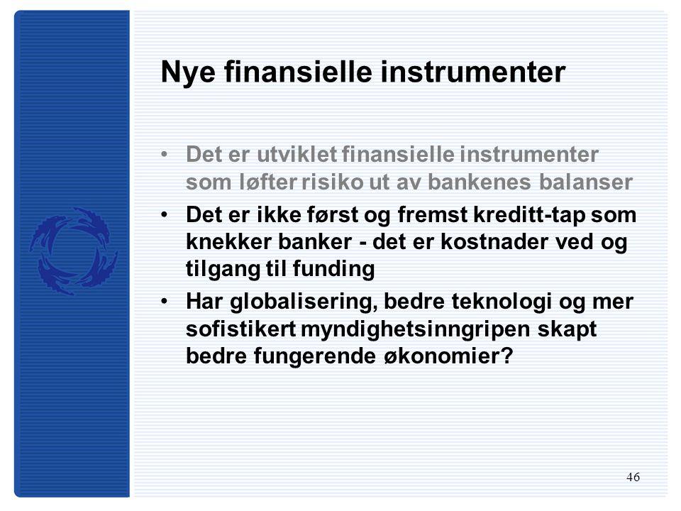 46 Nye finansielle instrumenter Det er utviklet finansielle instrumenter som løfter risiko ut av bankenes balanser Det er ikke først og fremst kreditt-tap som knekker banker - det er kostnader ved og tilgang til funding Har globalisering, bedre teknologi og mer sofistikert myndighetsinngripen skapt bedre fungerende økonomier