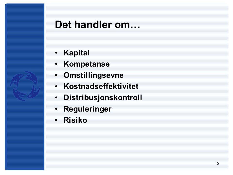 7 Kapital Basel II –Frigjøring av betydelige mengder egenkapital – spesielt i Norden