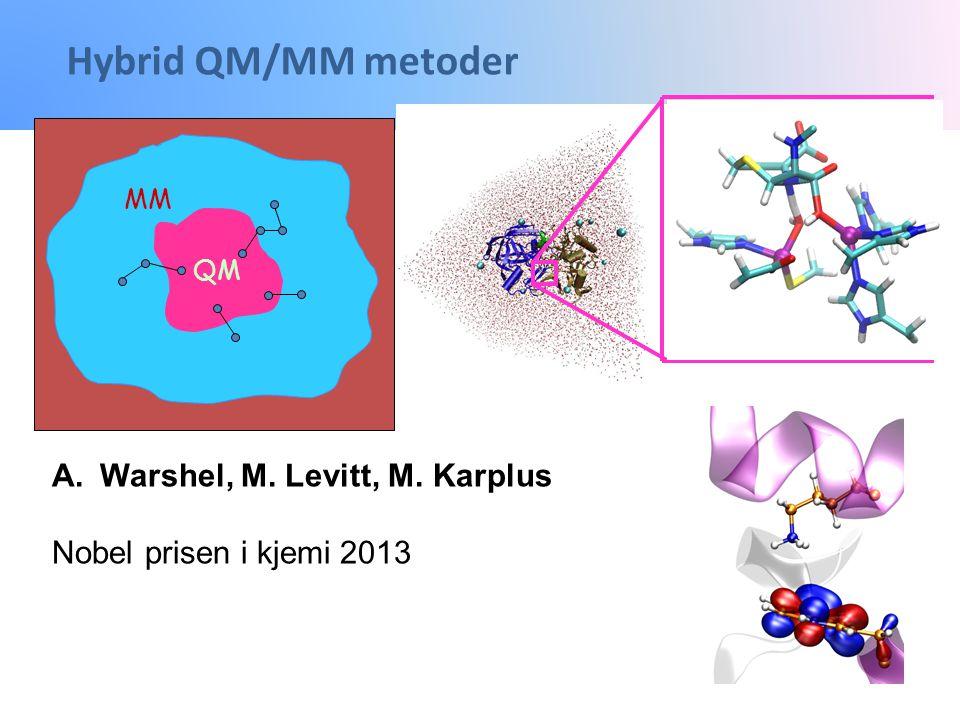 Hybrid QM/MM metoder MM QM A.Warshel, M. Levitt, M. Karplus Nobel prisen i kjemi 2013