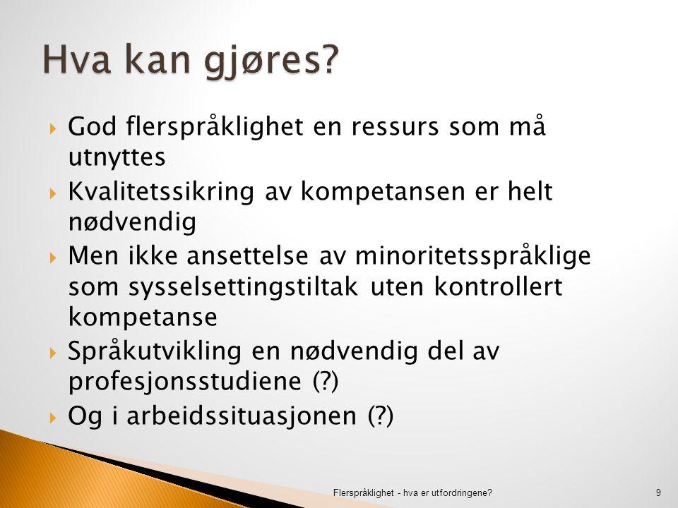  God flerspråklighet en ressurs som må utnyttes  Kvalitetssikring av kompetansen er helt nødvendig  Men ikke ansettelse av minoritetsspråklige som sysselsettingstiltak uten kontrollert kompetanse  Språkutvikling en nødvendig del av profesjonsstudiene ( )  Og i arbeidssituasjonen ( ) Flerspråklighet - hva er utfordringene 9