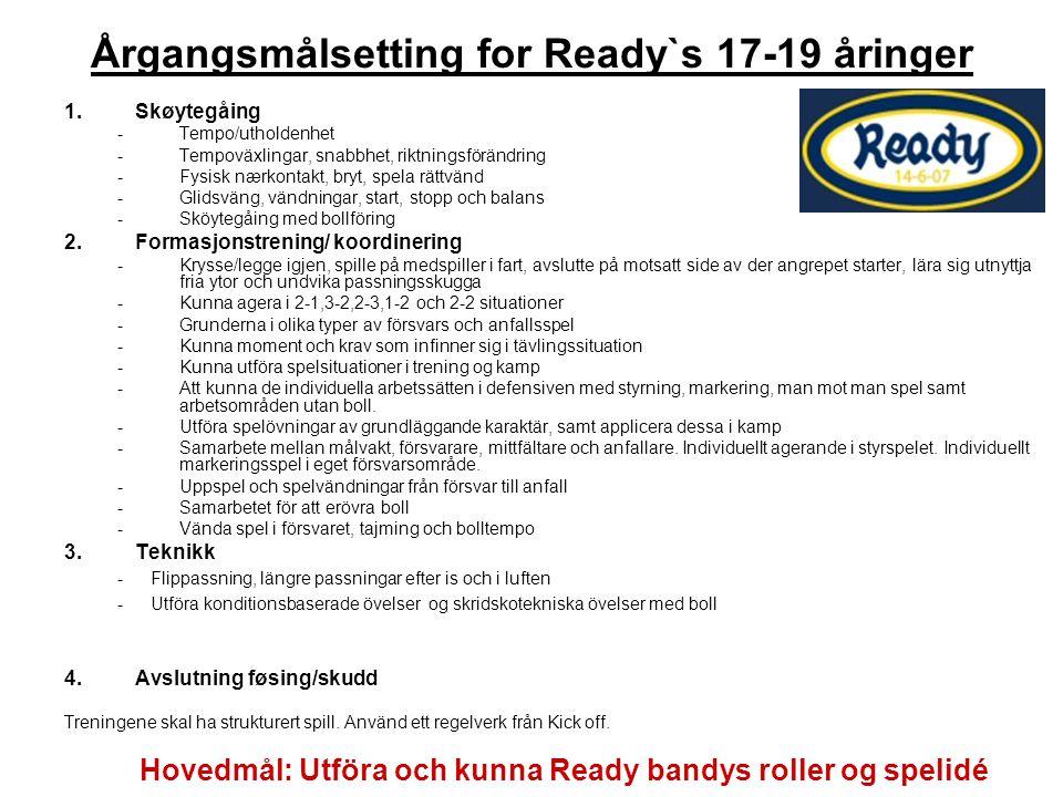 Årgangsmålsetting for Ready`s 17-19 åringer 1.Skøytegåing -Tempo/utholdenhet -Tempoväxlingar, snabbhet, riktningsförändring -Fysisk nærkontakt, bryt,