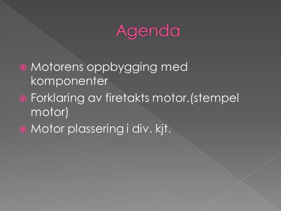  Motorens oppbygging med komponenter  Forklaring av firetakts motor.(stempel motor)  Motor plassering i div. kjt.