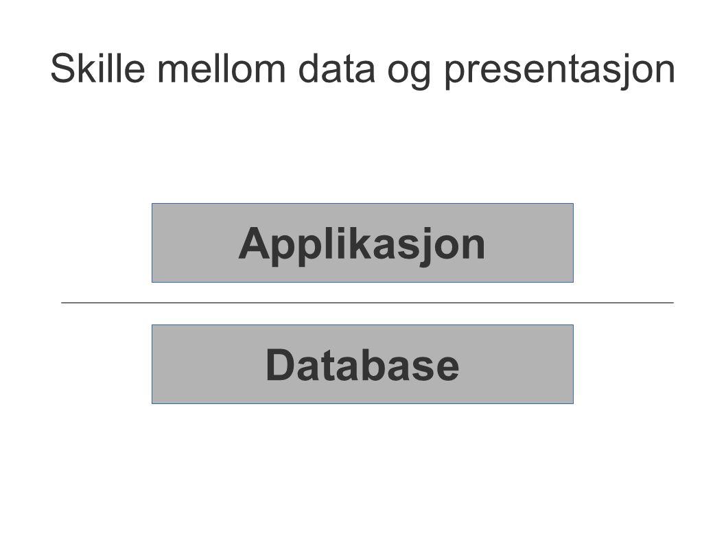 Skille mellom data og presentasjon Applikasjon Database