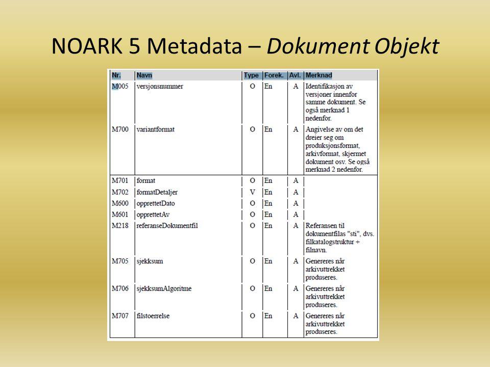 NOARK 5 Metadata - Registrering
