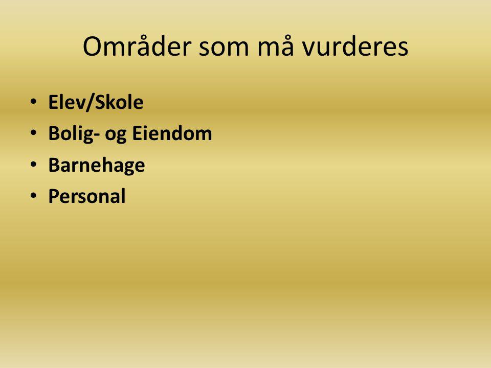 Områder som må vurderes Elev/Skole Bolig- og Eiendom Barnehage Personal