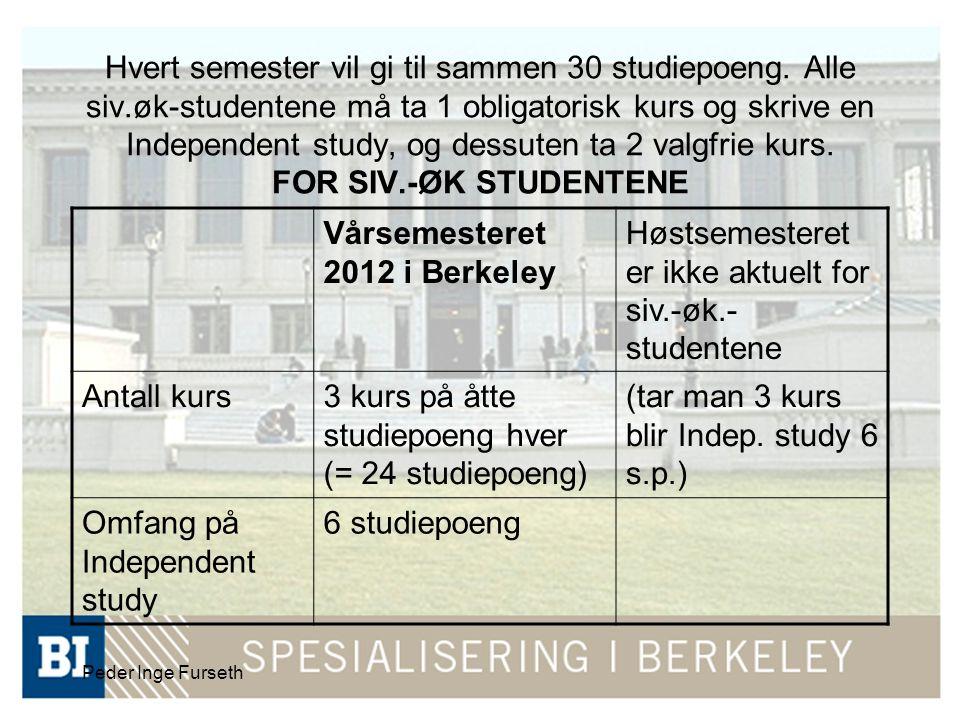 Peder Inge Furseth Hvert semester vil gi til sammen 30 studiepoeng. Alle siv.øk-studentene må ta 1 obligatorisk kurs og skrive en Independent study, o