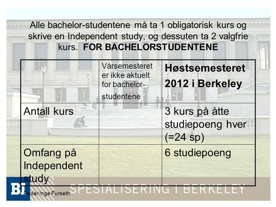 Peder Inge Furseth Alle bachelor-studentene må ta 1 obligatorisk kurs og skrive en Independent study, og dessuten ta 2 valgfrie kurs. FOR BACHELORSTUD