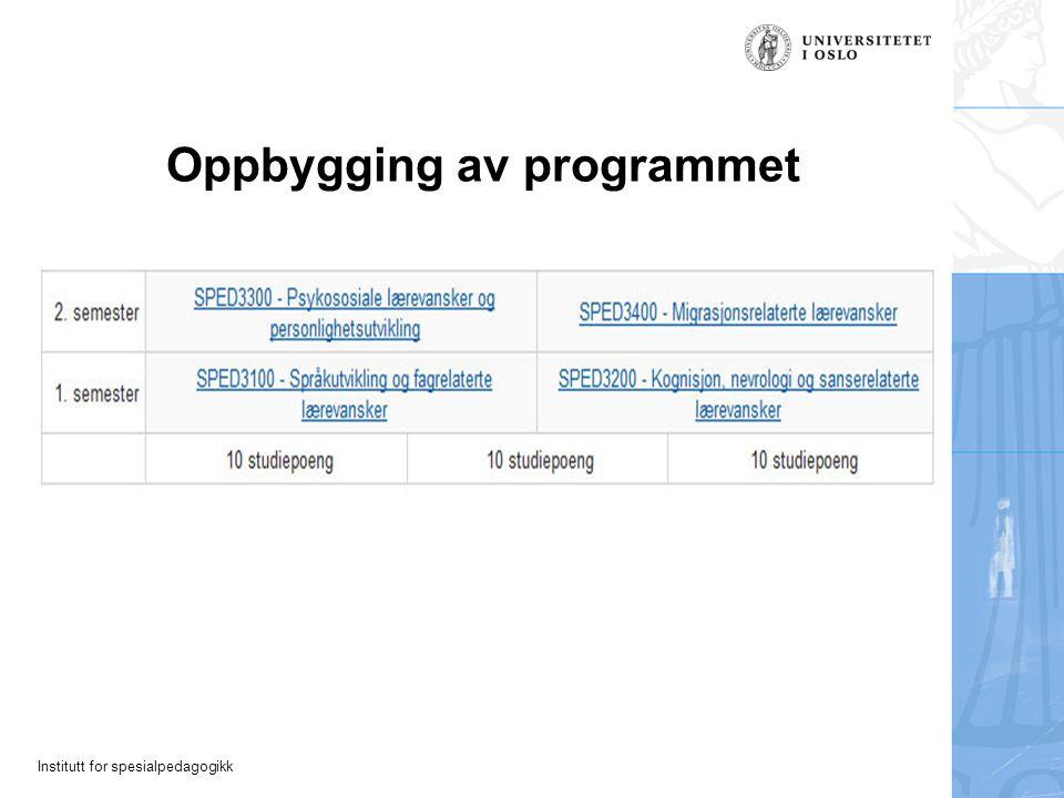 Institutt for spesialpedagogikk Oppbygging av programmet