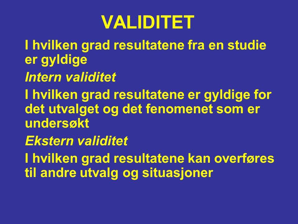 VALIDITET I hvilken grad resultatene fra en studie er gyldige Intern validitet I hvilken grad resultatene er gyldige for det utvalget og det fenomenet
