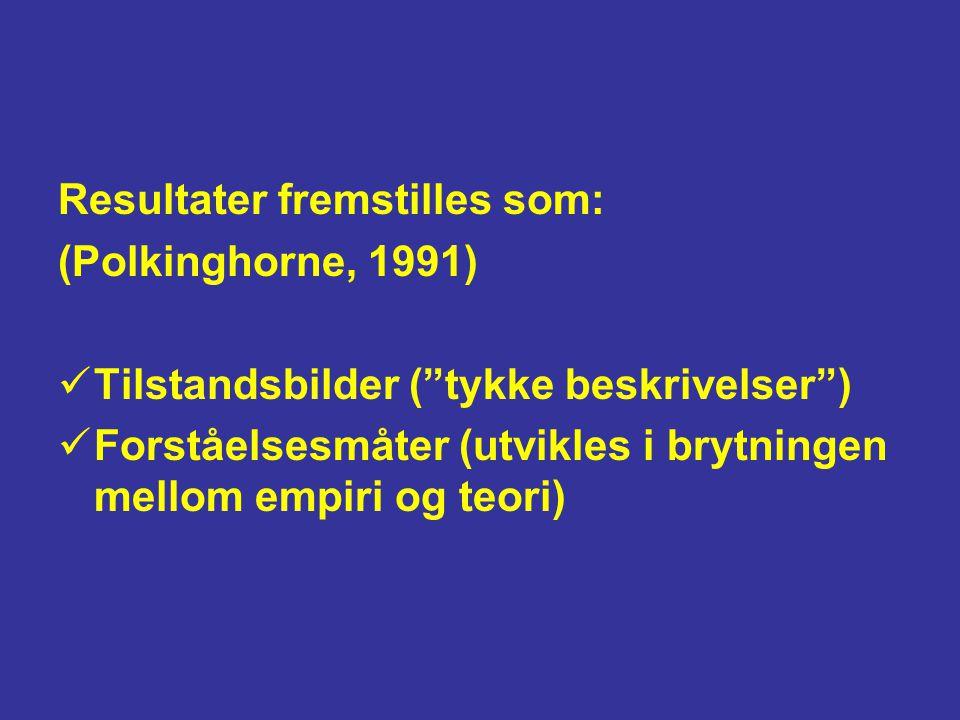 """Resultater fremstilles som: (Polkinghorne, 1991) Tilstandsbilder (""""tykke beskrivelser"""") Forståelsesmåter (utvikles i brytningen mellom empiri og teori"""